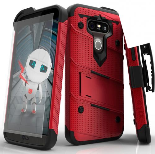 [LG G5] Case - [BOLT] Heavy Duty Cover w/ Kickstand, Holster, Tempered Glass Screen Protector & Lanyard [Red/ Black]