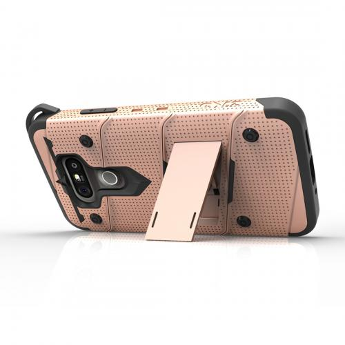 [LG G5] Case - [BOLT] Heavy Duty Cover w/ Kickstand, Holster, Tempered Glass Screen Protector & Lanyard [Rose Gold/ Black]