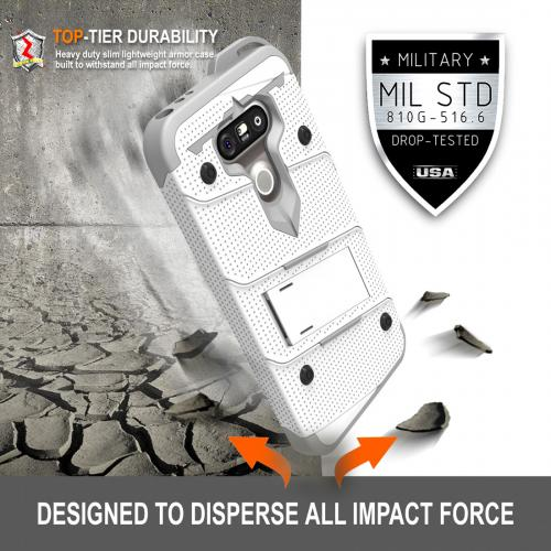 [LG G5] Case - [BOLT] Heavy Duty Cover w/ Kickstand, Holster, Tempered Glass Screen Protector & Lanyard [White/ Gray]