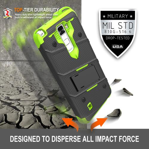 [LG K10] Case - [BOLT] Heavy Duty Cover w/ Kickstand, Holster, Tempered Glass Screen Protector & Lanyard [Black/ Neon Green]