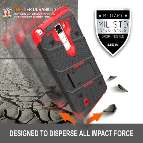 [LG K10] Case - [BOLT] Heavy Duty Cover w/ Kickstand, Holster, Tempered Glass Screen Protector & Lanyard [Black/ Red]