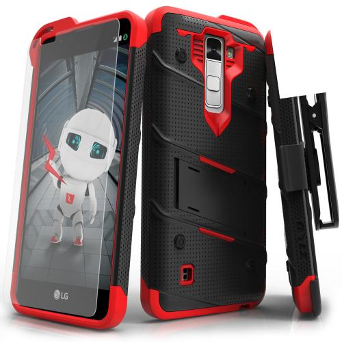 LG K10 Case - [BOLT] Heavy Duty Cover w/ Kickstand, Holster, Tempered Glass Screen Protector & Lanyard [Black/ Red]