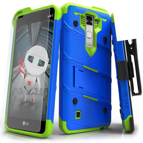 [LG K10] Case - [BOLT] Heavy Duty Cover w/ Kickstand, Holster, Tempered Glass Screen Protector & Lanyard [Blue/ Neon Green]
