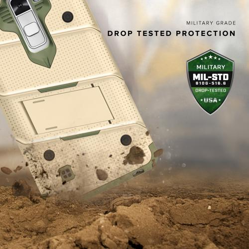 [LG K10] Case - [BOLT] Heavy Duty Cover w/ Kickstand, Holster, Tempered Glass Screen Protector & Lanyard [Desert Tan/ Camo Green]