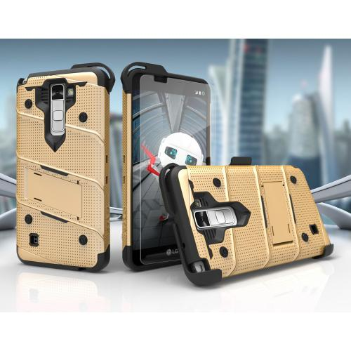 LG K10 Case - [BOLT] Heavy Duty Cover w/ Kickstand, Holster, Tempered Glass Screen Protector & Lanyard [Gold/ Black]