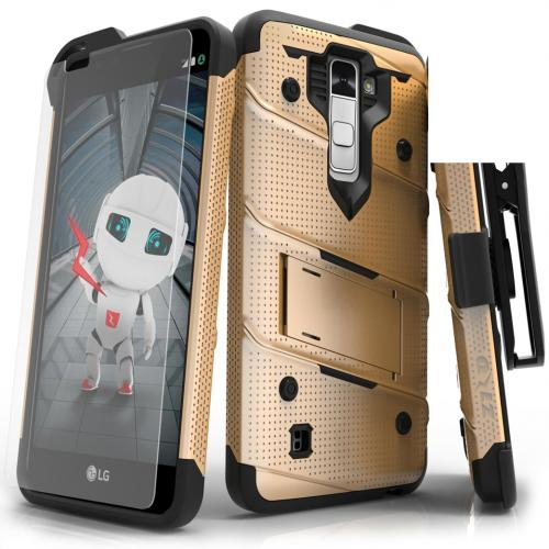 [LG K10] Case - [BOLT] Heavy Duty Cover w/ Kickstand, Holster, Tempered Glass Screen Protector & Lanyard [Gold/ Black]