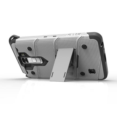 LG K10 Case - [BOLT] Heavy Duty Cover w/ Kickstand, Holster, Tempered Glass Screen Protector & Lanyard [Gray/ Black]