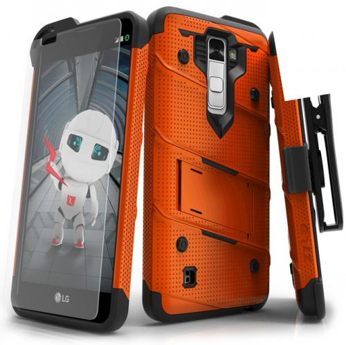 [LG K10] Case - [BOLT] Heavy Duty Cover w/ Kickstand, Holster, Tempered Glass Screen Protector & Lanyard [Orange/ Black]
