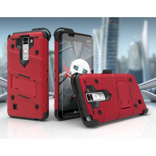 [LG K10] Case - [BOLT] Heavy Duty Cover w/ Kickstand, Holster, Tempered Glass Screen Protector & Lanyard [Red/ Black]