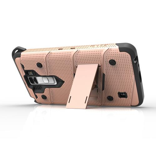[LG K10] Case - [BOLT] Heavy Duty Cover w/ Kickstand, Holster, Tempered Glass Screen Protector & Lanyard [Rose Gold/ Black]