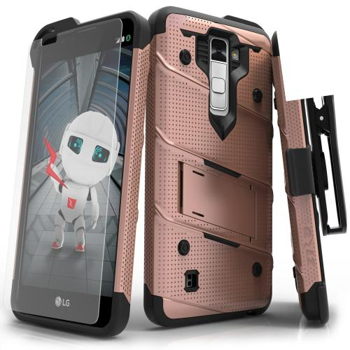 LG K10 Case - [BOLT] Heavy Duty Cover w/ Kickstand, Holster, Tempered Glass Screen Protector & Lanyard [Rose Gold/ Black]