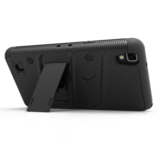[LG X Power] Case - [BOLT] Heavy Duty Cover w/ Kickstand, Holster, Tempered Glass Screen Protector & Lanyard [Black]