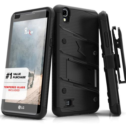 LG X Power Case - [BOLT] Heavy Duty Cover w/ Kickstand, Holster, Tempered Glass Screen Protector & Lanyard [Black]