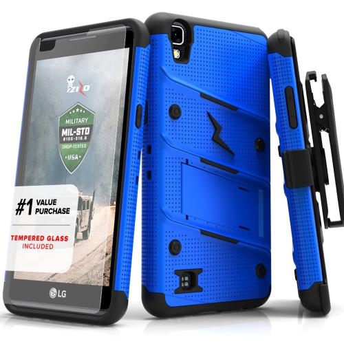LG X Power Case - [BOLT] Heavy Duty Cover w/ Kickstand, Holster, Tempered Glass Screen Protector & Lanyard [Blue/ Black]
