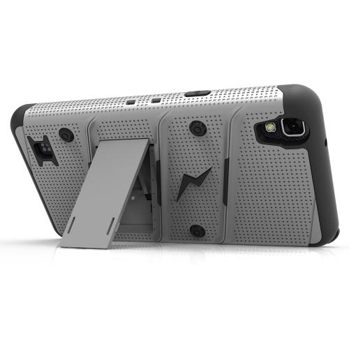 [LG X Power] Case - [BOLT] Heavy Duty Cover w/ Kickstand, Holster, Tempered Glass Screen Protector & Lanyard [Gray/ Black]