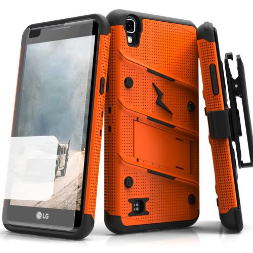 LG X Power Case - [BOLT] Heavy Duty Cover w/ Kickstand, Holster, Tempered Glass Screen Protector & Lanyard [Orange/ Black]