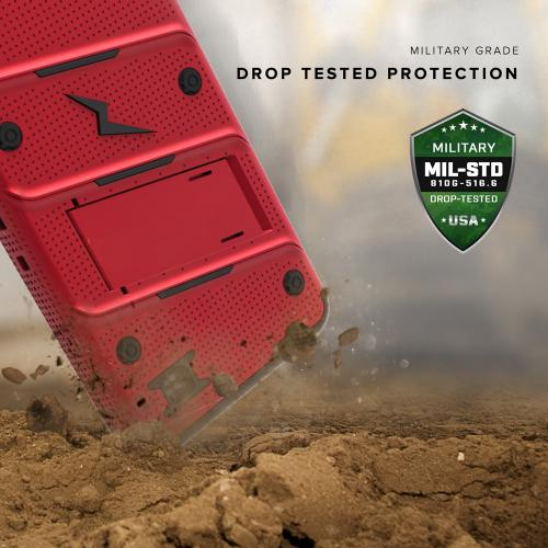 [LG X Power] Case - [BOLT] Heavy Duty Cover w/ Kickstand, Holster, Tempered Glass Screen Protector & Lanyard [Red/ Black]