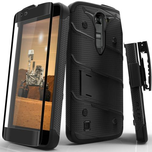 [LG K7/ LG Tribute 5] Case - [BOLT] Heavy Duty Cover w/ Kickstand, Holster, Tempered Glass Screen Protector & Lanyard [Black]