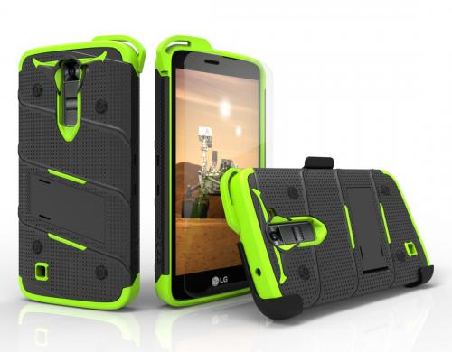 [LG K7/ LG Tribute 5] Case - [BOLT] Heavy Duty Cover w/ Kickstand, Holster, Tempered Glass Screen Protector & Lanyard [Black/ Neon Green]