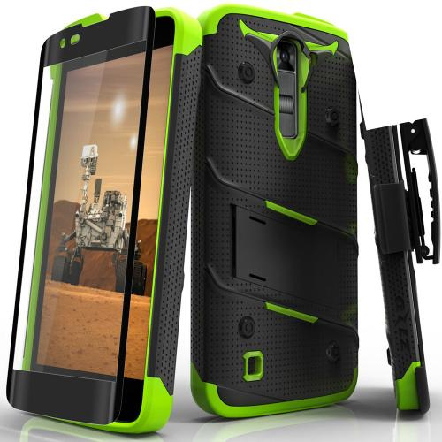 LG K7/ LG Tribute 5 Case - [BOLT] Heavy Duty Cover w/ Kickstand, Holster, Tempered Glass Screen Protector & Lanyard [Black/ Neon Green]