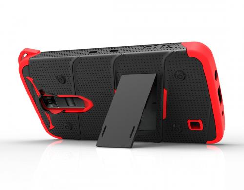 [LG K7/ LG Tribute 5] Case - [BOLT] Heavy Duty Cover w/ Kickstand, Holster, Tempered Glass Screen Protector & Lanyard [Black/ Red]