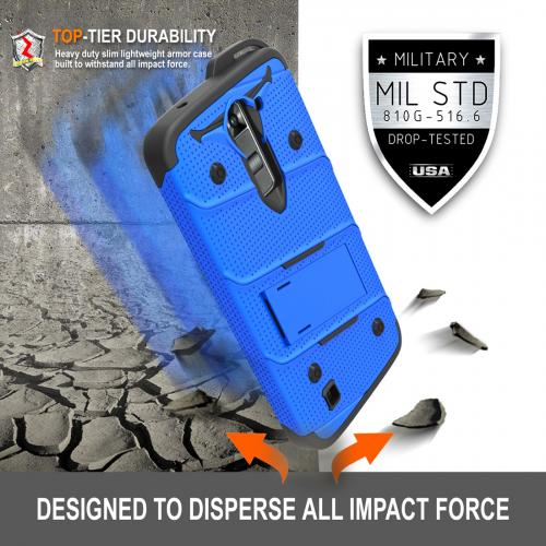 LG K7/ LG Tribute 5 Case - [BOLT] Heavy Duty Cover w/ Kickstand, Holster, Tempered Glass Screen Protector & Lanyard [Blue/ Black]