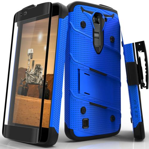 [LG K7/ LG Tribute 5] Case - [BOLT] Heavy Duty Cover w/ Kickstand, Holster, Tempered Glass Screen Protector & Lanyard [Blue/ Black]