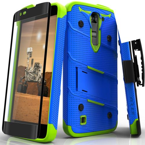 [LG K7/ LG Tribute 5] Case - [BOLT] Heavy Duty Cover w/ Kickstand, Holster, Tempered Glass Screen Protector & Lanyard [Blue/ Neon Green]