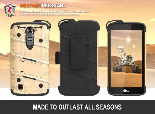 [LG K7/ LG Tribute 5] Case - [BOLT] Heavy Duty Cover w/ Kickstand, Holster, Tempered Glass Screen Protector & Lanyard [Gold/ Black]