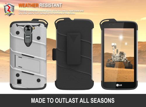 LG K7/ LG Tribute 5 Case - [BOLT] Heavy Duty Cover w/ Kickstand, Holster, Tempered Glass Screen Protector & Lanyard [Gray/ Black]