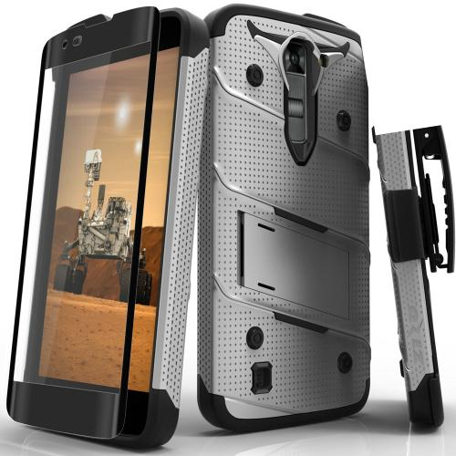 [LG K7/ LG Tribute 5] Case - [BOLT] Heavy Duty Cover w/ Kickstand, Holster, Tempered Glass Screen Protector & Lanyard [Gray/ Black]