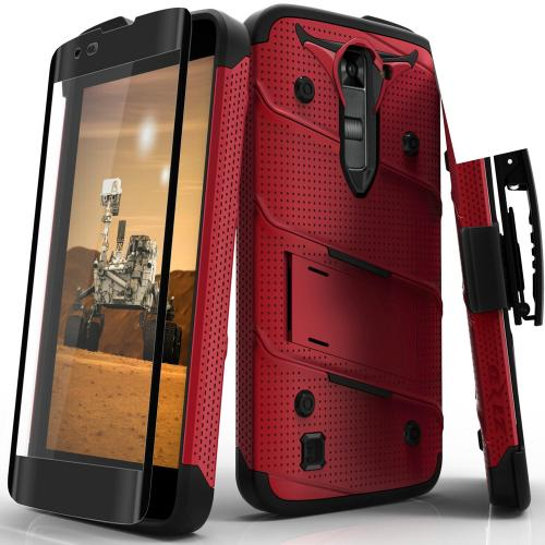 [LG K7/ LG Tribute 5] Case - [BOLT] Heavy Duty Cover w/ Kickstand, Holster, Tempered Glass Screen Protector & Lanyard [Red/ Black]