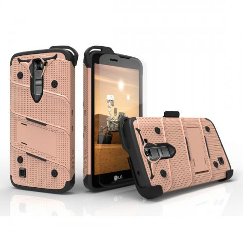 [LG K7/ LG Tribute 5] Case - [BOLT] Heavy Duty Cover w/ Kickstand, Holster, Tempered Glass Screen Protector & Lanyard [Rose Gold/ Black]