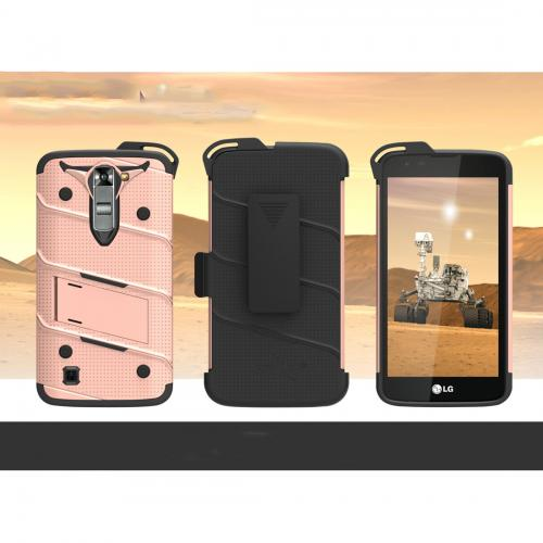 LG K7/ LG Tribute 5 Case - [BOLT] Heavy Duty Cover w/ Kickstand, Holster, Tempered Glass Screen Protector & Lanyard [Rose Gold/ Black]