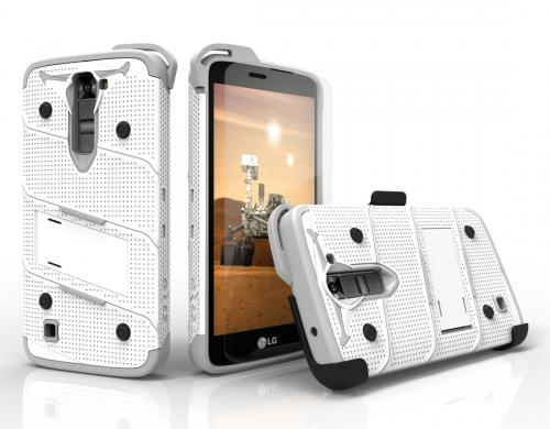 [LG K7/ LG Tribute 5] Case - [BOLT] Heavy Duty Cover w/ Kickstand, Holster, Tempered Glass Screen Protector & Lanyard [White/ Gray]