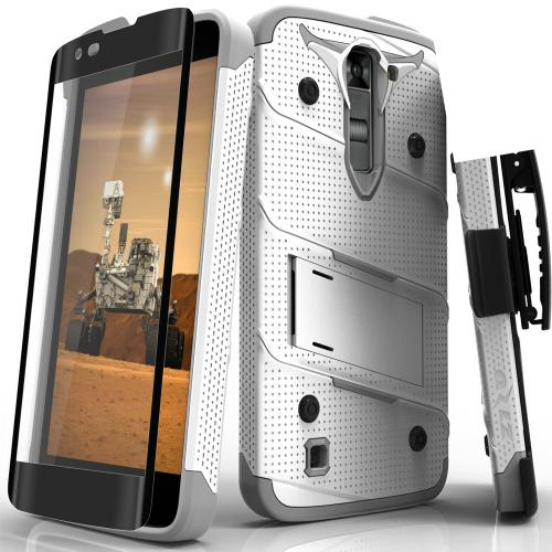 LG K7/ LG Tribute 5 Case - [BOLT] Heavy Duty Cover w/ Kickstand, Holster, Tempered Glass Screen Protector & Lanyard [White/ Gray]