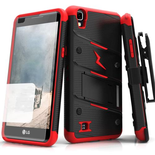 LG Tribute HD Case - [BOLT] Heavy Duty Cover w/ Kickstand, Holster, Tempered Glass Screen Protector & Lanyard [Black/ Red]