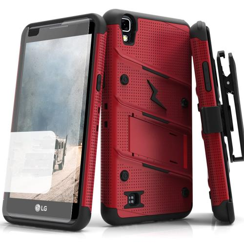 LG Tribute HD Case - [BOLT] Heavy Duty Cover w/ Kickstand, Holster, Tempered Glass Screen Protector & Lanyard [Red/ Black]