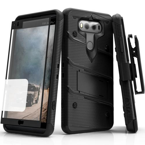[LG V20] Case - [BOLT] Heavy Duty Cover w/ Kickstand, Holster, Tempered Glass Screen Protector & Lanyard [Black]