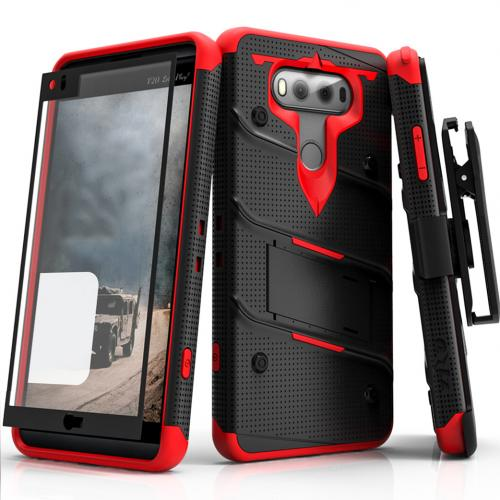 [LG V20] Case - [BOLT] Heavy Duty Cover w/ Kickstand, Holster, Tempered Glass Screen Protector & Lanyard [Black/ Red]