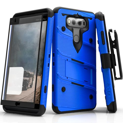 [LG V20] Case - [BOLT] Heavy Duty Cover w/ Kickstand, Holster, Tempered Glass Screen Protector & Lanyard [Blue/ Black]