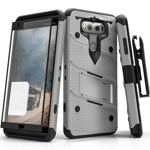[LG V20] Case - [BOLT] Heavy Duty Cover w/ Kickstand, Holster, Tempered Glass Screen Protector & Lanyard [Gray/ Black]