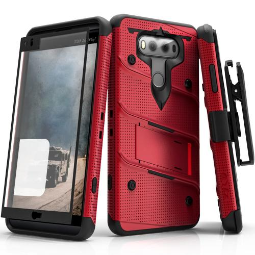 [LG V20] Case - [BOLT] Heavy Duty Cover w/ Kickstand, Holster, Tempered Glass Screen Protector & Lanyard [Red/ Black]