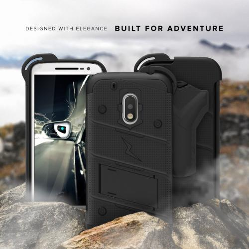 [Motorola Moto G4 Play] Case - [BOLT] Heavy Duty Cover w/ Kickstand, Holster, Tempered Glass Screen Protector & Lanyard [Black]