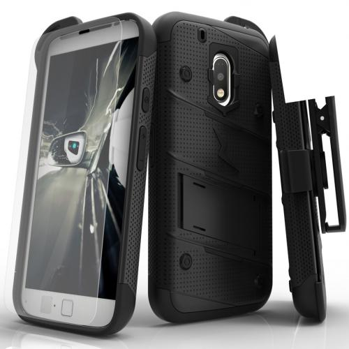 Motorola Moto G4 Play Case - [BOLT] Heavy Duty Cover w/ Kickstand, Holster, Tempered Glass Screen Protector & Lanyard [Black]