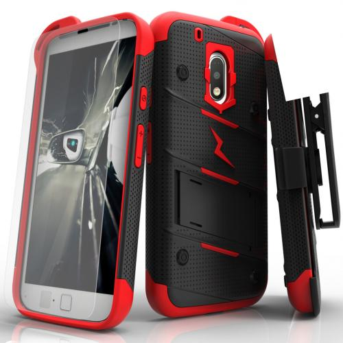 [Motorola Moto G4 Play] Case - [BOLT] Heavy Duty Cover w/ Kickstand, Holster, Tempered Glass Screen Protector & Lanyard [Red/ Black]