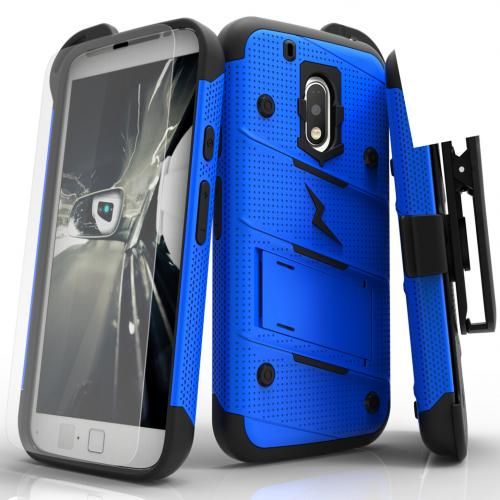[Motorola Moto G4 Play] Case - [BOLT] Heavy Duty Cover w/ Kickstand, Holster, Tempered Glass Screen Protector & Lanyard [Blue]