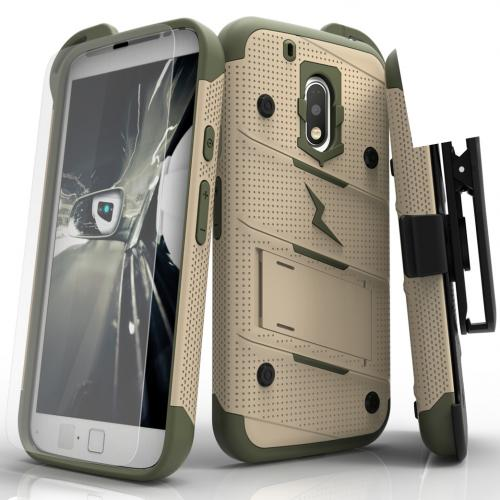 [Motorola Moto G4 Play] Case - [BOLT] Heavy Duty Cover w/ Kickstand, Holster, Tempered Glass Screen Protector & Lanyard [Desert Tan/Camo]