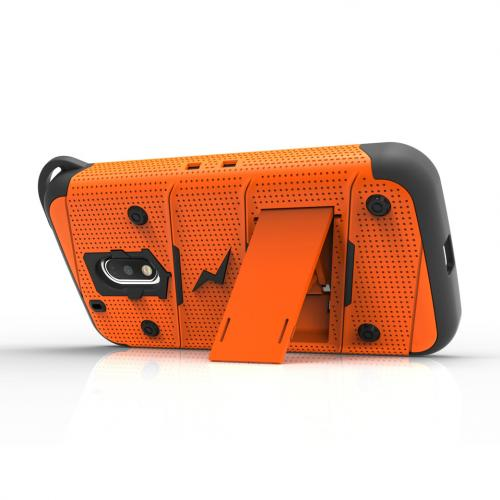 [Motorola Moto G4 Play] Case - [BOLT] Heavy Duty Cover w/ Kickstand, Holster, Tempered Glass Screen Protector & Lanyard [Orange]