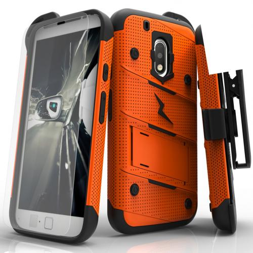 Motorola Moto G4 Play Case - [BOLT] Heavy Duty Cover w/ Kickstand, Holster, Tempered Glass Screen Protector & Lanyard [Orange]